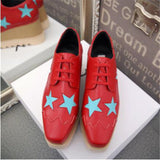 Metallic Leather Platform Oxford Shoes Classic Fashion Women Sneakers Brand Design Elyse Star Lace-Up Flat Women Causal Shoes
