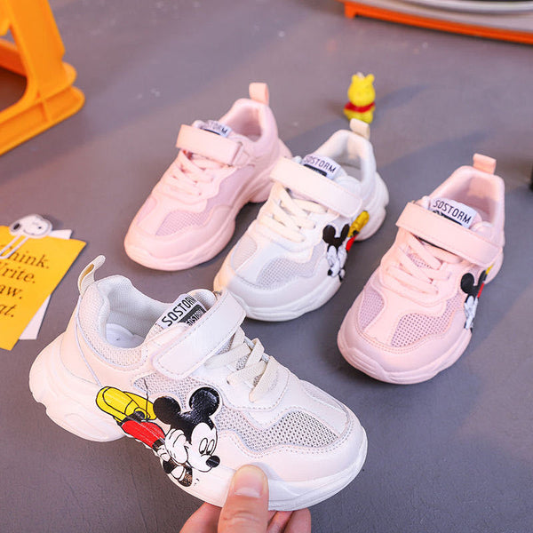 Mickey Sneakers for Boys and Girls Cartoon Mesh Sneakers Shoes Boys White Breathable Sport Casual Shoes Children's Casual Shoes