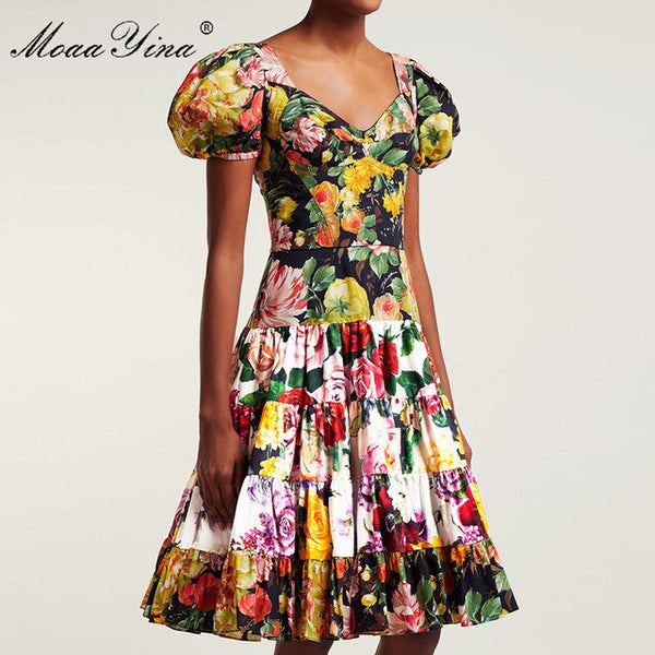 MoaaYina Fashion Designer Runway Dress Summer Women V-neck Puff Sleeve Floral-Print Elegant Cotton Dress High Quality