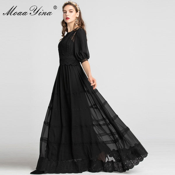 MoaaYina Fashion Designer Runway dress Spring Summer Women Dress Patchwork Hollow Out Noble Elegant Party Maxi black Dresses