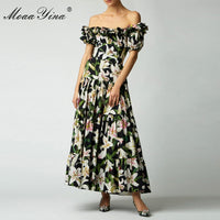 MoaaYina Fashion Designer Runway dress Spring Summer Women Dress lily Floral-Print Elegant Cotton Dresses