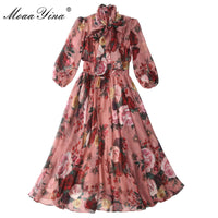 MoaaYina Fashion Designer Runway dress Spring Summer Women Pink Dress Bow collar Rose Floral-Print Elegant Chiffon Dresses