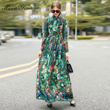 MoaaYina Fashion Designer dress Spring Autumn Women Dress Long sleeve Rainforest Floral-Print Maxi Dresses