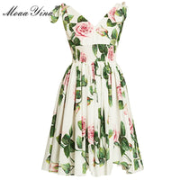 MoaaYina Fashion Designer dress Spring Summer Women's Dress V-neck Floral-Print Vacation Dresses