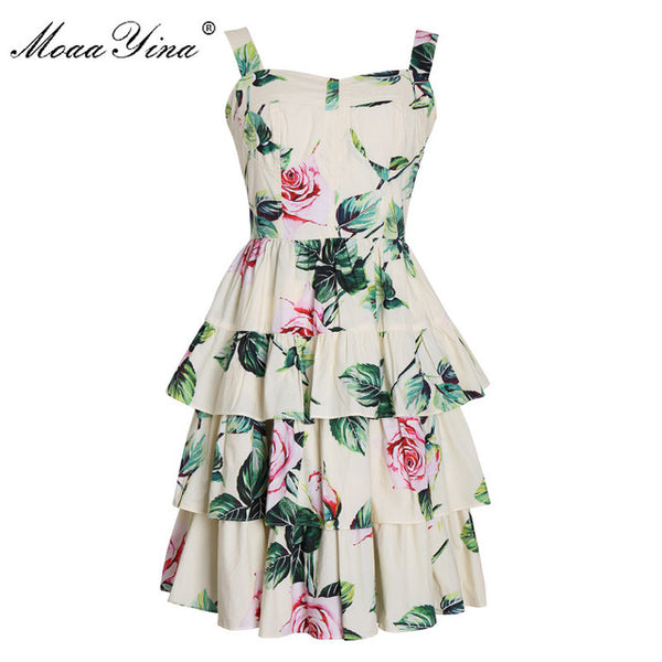 MoaaYina Fashion Designer dress Summer Women's Dress  Spaghetti strap Backless Floral Print Cascading Ruffle Beach Dresses
