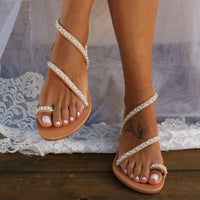 NAN JIU MOUNTAIN 2019 Summer Flat Sandals Women's Shoes Toe Rhinestone Pearl Beach Shoes Bohemian Plus Size 35-43