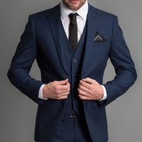 Navy Blue Formal Wedding Tuxedos for Gentleman Prom Slim Fit 3 Piece Notched Lapel Custom Men Suits Set Jacket Pants Vest New
