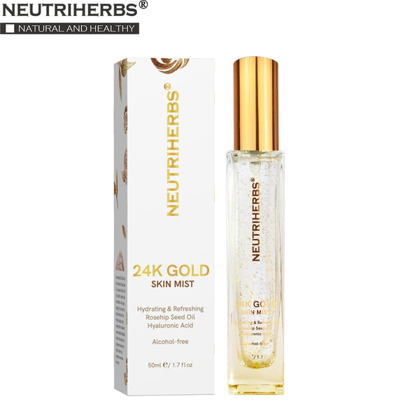 Neutriherbs 24k Nano Gold Skin Mist Hydrating Moisturizing Nano Mist for Acne Gold Natural Face Toner 50ml