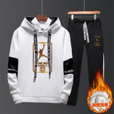 New 2019 Brand Tracksuit Fashion JORDAN 23 Men Sportswear Two Piece Sets All Cotton Fleece Thick hoodie+Pants Sporting Suit Male
