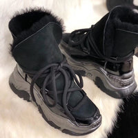 New Genuine Leather Female Snow Boots Winter Boots women flat Plus velvet Ankle boots Non-slip Keep warm wool Women's sneakers
