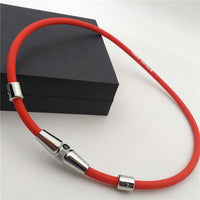 New Korean Health Energy Titanium Necklace Magnetic Stainless Steel Silicone Necklace Unisex Stainless Steel Jewelry