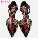 New Leopard Print Rose Flower Party Wedding Shoes Woman T-strap Crystal Thin High Heel Women Pumps Horse Hair Zapatos De Mujer