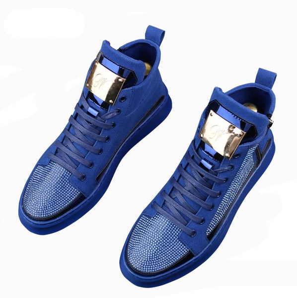 New Men luxury rhinestone metal plate platform high tops Casual Flats Shoes Man Rock punk Loafers board Sneakers zapatos hombre