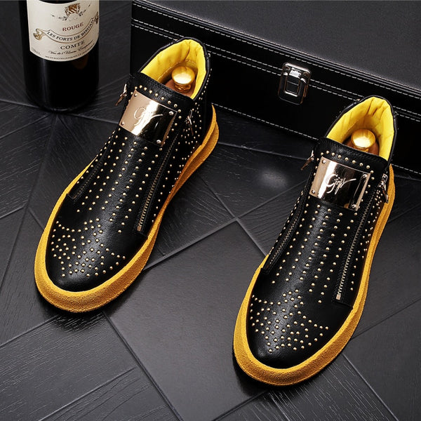 New Men's luxury Fashion punk rivet metal plate Causal flat thick bottom shoes Hip-hop punk Loafers for zapatillas hombre