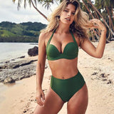 New swimsuit for women 2020 split solid color steel buttress gathered bikini hard cup swimsuit