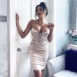 NewAsia Chic Lace Up Sexy Dress Women 2019 Summer Push Up Padded Bra Satin Midi Dress Ladies Clubwear Party Bodycon Dress Red