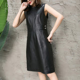 Novmoop Elegant sexy black O-neck natural genuine leather autumn winter women dress with button zipper decor robe femme LT2810