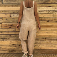 OEAK 2019 Women Summer Casual Loose -piece trousers Sleeveless Adjustable Sling Slim Solid Color Long Jumpsuit Plus Size