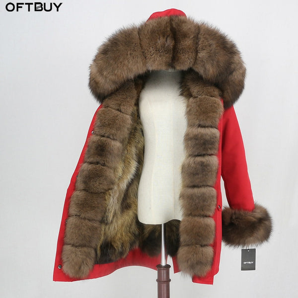 OFTBUY 2020 Waterproof Outerwear Real Fur Coat Long Parka Winter Jacket Women Natural Fox Fur Hood Streetwear Detachable Brand