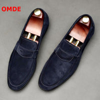 OMDE Suede Men Shoes New Fashion Round Toe Penny Loafers Men Casual Shoes Handmade Slip On Men's Slippers Party And Prom Shoes
