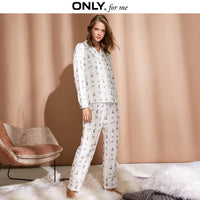 ONLY  Women's 100% Cotton Printed Lace-up Pyjama Trousers |118414505