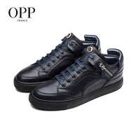 OPP Men Boots Zip Genuine Leather shoes Winter Boots Men Full Grain Leather Shoes Ankle Boots For Men