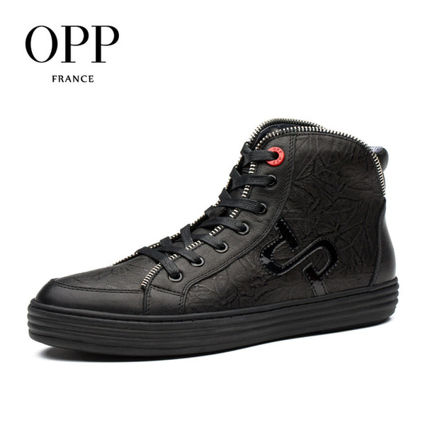 OPP Men's boots High Top Genuine Leather Men Shoes Winter Boots men Zip Metal Style Shoes Ankle Boots for men
