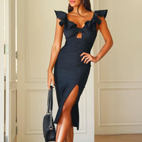 Ocstrade New Ruffle Celebrity Bodycon 2020 Bandage Dress Black Cut Out Woman Sexy Bodycon Dress Party Bandage Rayon Bodycon Club