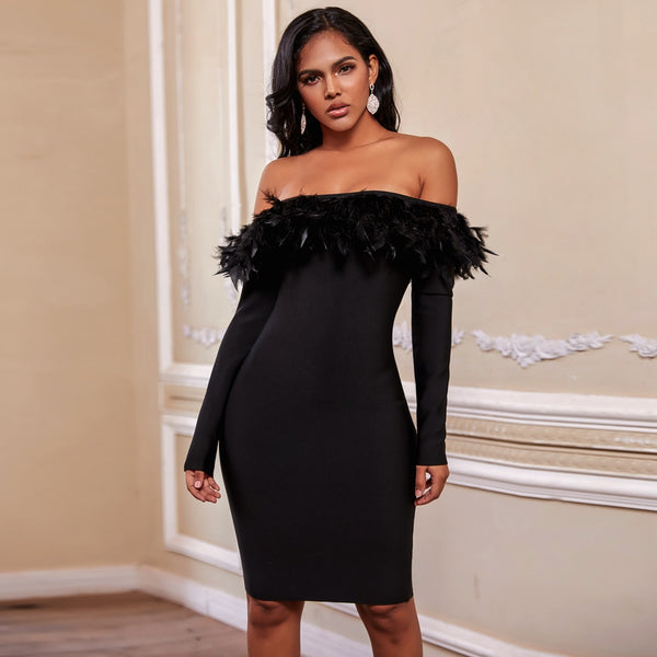 Ocstrade Winter Off Shoulder Blalck Bandage Dress Rayon Feather Long Sleeve Bandage Dress Bodycon Sexy Christmas Party Dress