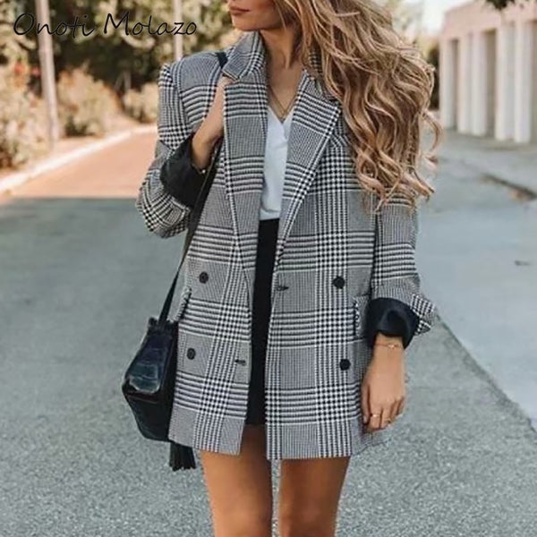 Onoti winter autumn outwear fashion office ladies Gray plaid long jacket warm vintage female coat tops chaqueta mujer 2020 za