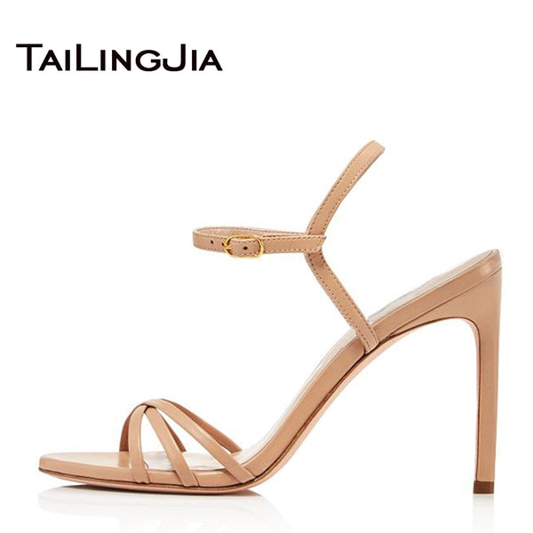 Open Toe Brand Gold or Nude Women Shoes Woman Sandals High Heel Buckle Ankel Strappy Shoes Nude Female Plus Size Shoes Wholesale