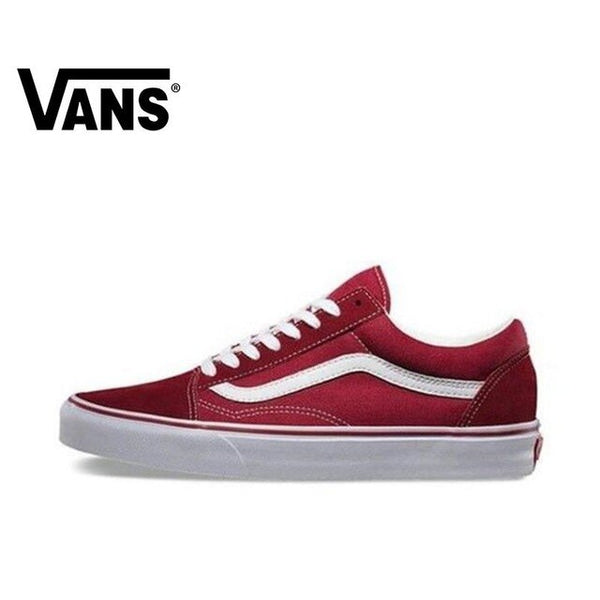 Original Authentic VANS OLD SKOOL Men and Women's Shoes Classic Outdoor Street Style Comfortable 2019 New Red VN000VOKDIC