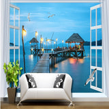 Photo wallpaper bedroom sitting room lobby corridor study wallpaper mural Outside window night sea view pier 3d background wall