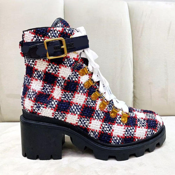 Plaid Boots Women Lace Up Botas Feminina Ankle Mixed Color Botas Mujer Thick Heel Shoes Woman Fashion Women Shoes Platform Boots