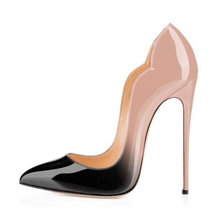 Plus Size 13 High Heels Pointed toe Pumps Black Office Shoes Women 120MM Party Shoes Stiletto High Heel Pump Patent Leather Shoe