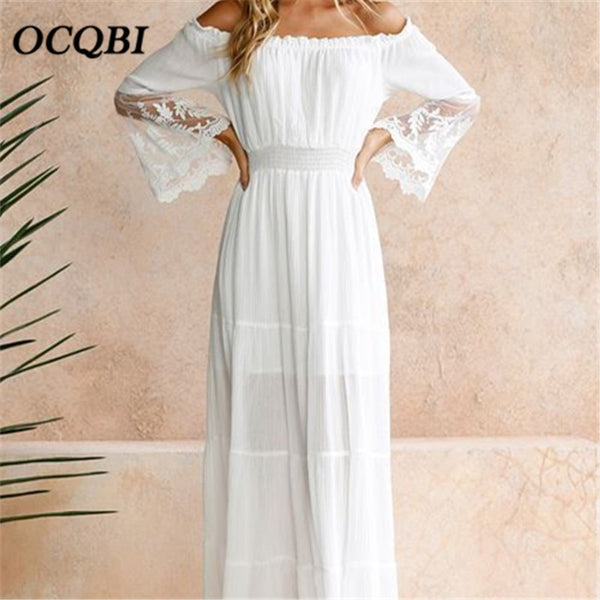 Plus Size 2018 Summer Women Lace Casual Beach Sundress Sexy Elegant Maxi White Dress