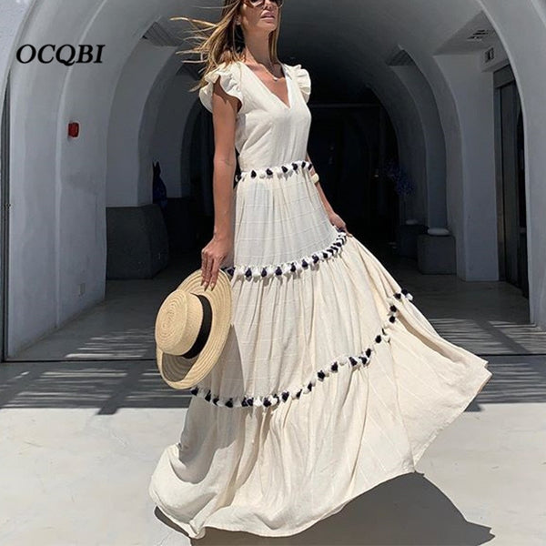 Plus Size 2019 Women Summer Dress Vintage Sexy Bohemian Casual Dreeses Party Night Long Dress