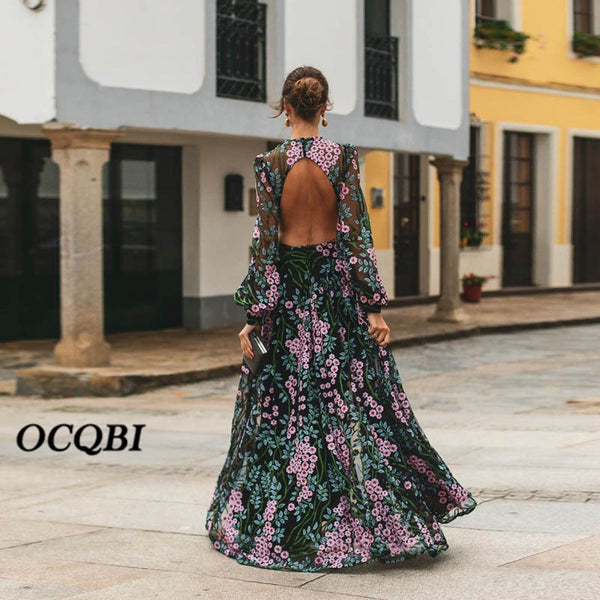 Plus Size 2020 Women Summer Dress Bohemian Sexy Vintage Dresses Print Party Night Long Sleeve Dress