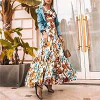 Plus Size 3XL 2019 Women Summer Bohemian Beach Print Dress Sexy Party Night Elegant Maxi White Dress