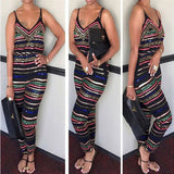 Plus Size Jumpsuit Sexy Deep V Neck Sleelveless Printing Ankle Length Jumpsuit Women Summer Clothes S-XXXL
