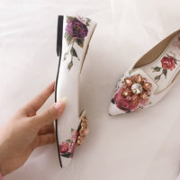 Print Rose Shoes Woman Point Toe Decor Pink Jewelry Flower Slim Shallow Flat Heels Shoes Comfy Insole White Color Woman Shoes