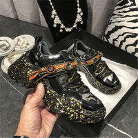 Prova Perfetto Gem Decoration Lace-Up Sneakers Women Fashion Ladies Walking Shoes Woman Sexy Graffiti Rhinestone Casual Shoes