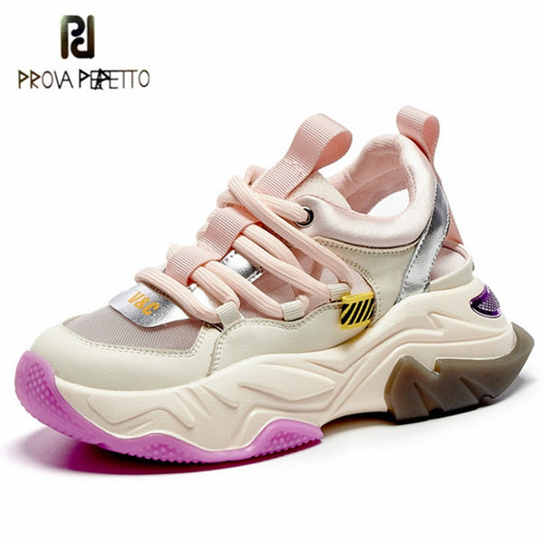 Prova Perfetto Sexy Women Sandals Summer Leather hollow out shoes Colour Mixture Mesh Flat Shoes Leisure Platform Women Shoes