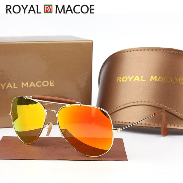 ROYAL MACOE Sunglasses Men Polarized Brand Classic Metal Pilot Glasses For Women Brown Lens Fashion Style UV400 Gafas De Sol