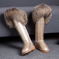 RUIYEE ladies over the knee boots fox fur snow boots fashion cowhide boots 2018 new waterproof women's boots