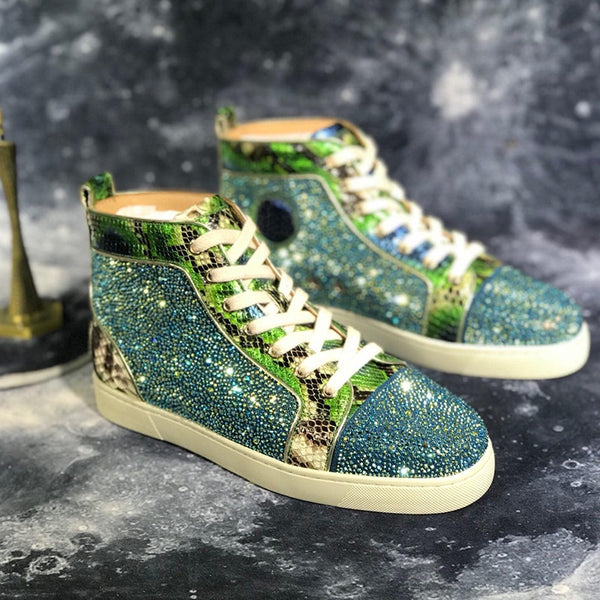 Red Bottom Men Sneakers Luxury Glitter Leather Shoes Mens Brand Designers Sneaker Fashion Rhinestones Shoes For Men Loafers
