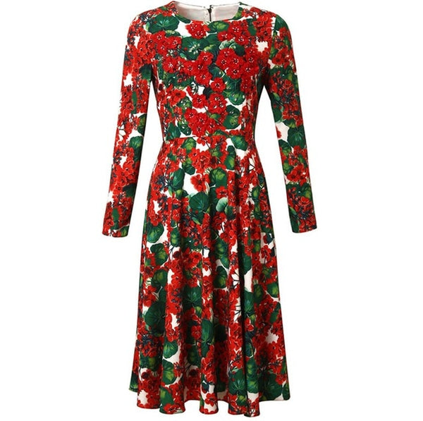 Red RoosaRosee Designer Runway Women 3d Flower Applique Bead Dress Spring Autumn Long Sleeve Floral Print Party Dresses Vestidos