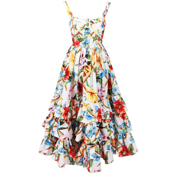 Free Return Return for any reason within 15 days Red RoosaRosee Designer Summer Dresses Women Floral Print Ruffle Spaghetti Strap Midi Dress Sweet Party Dress Vestido Robe Femme