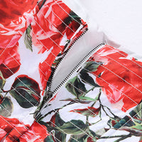 Free Return Return for any reason within 15 days Red RoosaRosee Fashion Runway Women Ball Gown Dress Sexy Backless Floral Print Cascading Ruffle Summer Strap Dress Vestidos Robe