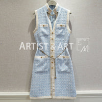 Red RoosaRosee Runway Sweet Pink Blue Sleeveless Tweed Dress Women's High Quality Slim Chain Buttons Sexy Party Dresses Vestdios